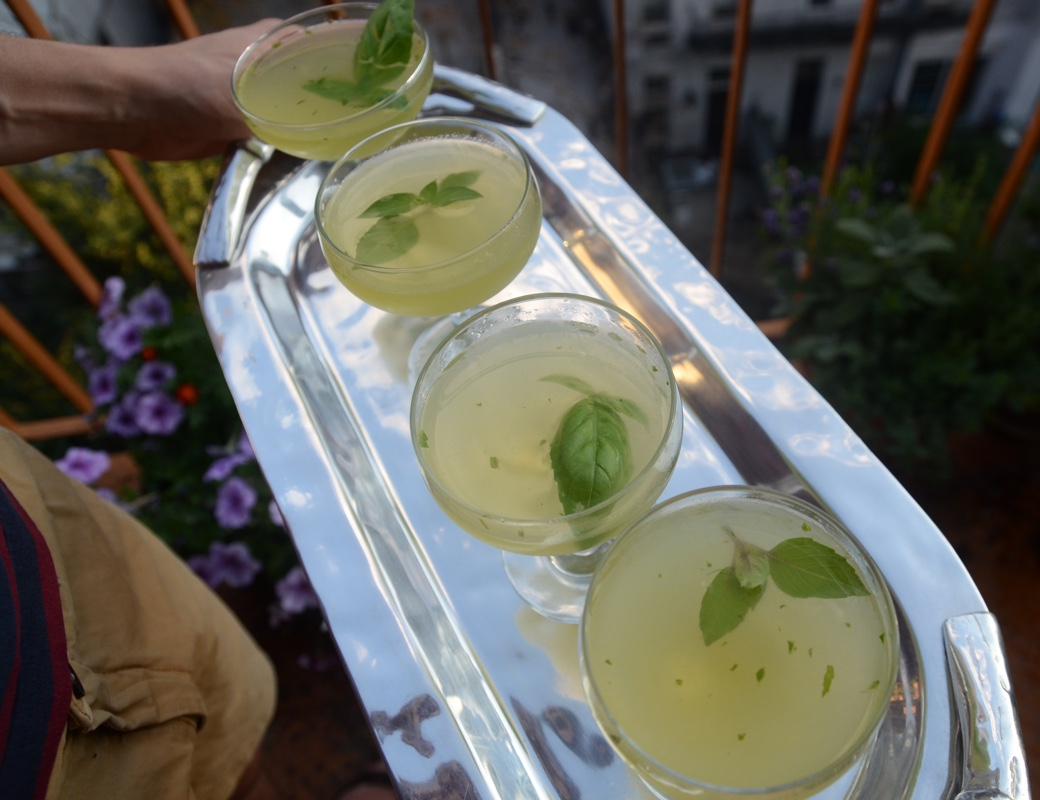 coconut water basil gimlet